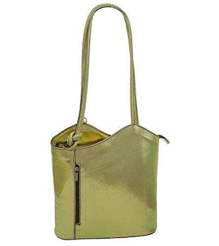 Freyday 2 in 1 Handtasche Rucksack Designer Luxus Henkeltasche aus Echtleder in versch. Designs (Gold Metallic)