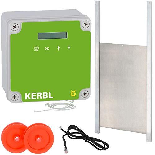 Kerbl automatische Hühnerklappe für Hühnerstall mit Schieber 30 x 40 cm   Türöffner mit Lichtsensor Zeitschaltung & manuell   sichere Hühnertür für Hühnerhaltung   integrierte Nothaltefunktion