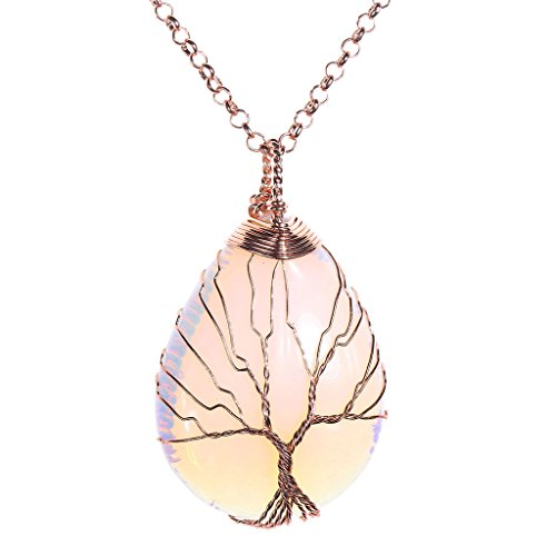 Jovivi Vintage Man-Made Opalite Crystal Necklace Wire Wrapped Copper Tree of Life Teardrop Gemstones Chakra Pendant Necklace for Women