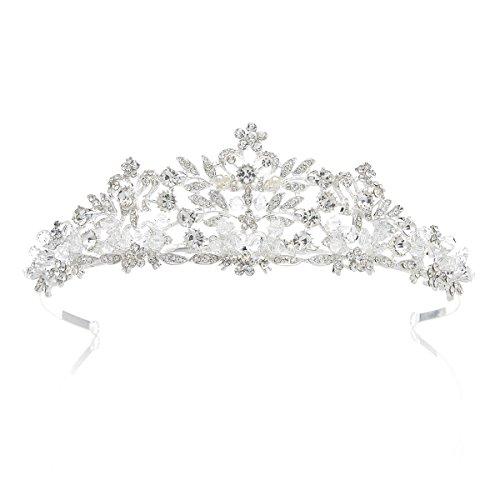 SWEETV Kristalle Prinzessin Krone Braut Tiara Diadem für Hochzeit Festzüge, Silber