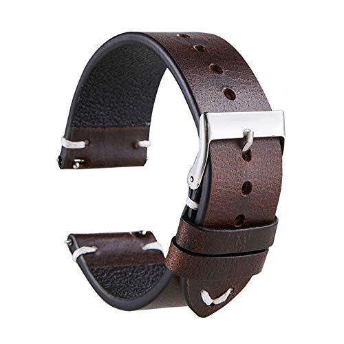20mm/22mm Correa de reloj de cuero de vaca de correa de reloj de decoloración doblada Vintage accesorios de reloj con hebilla de pasador de acero inoxidable, 22mm