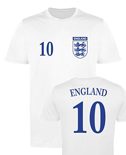 WM EM Trikot - England 10 - Herren T-Shirt - Weiss/Navy Gr. L