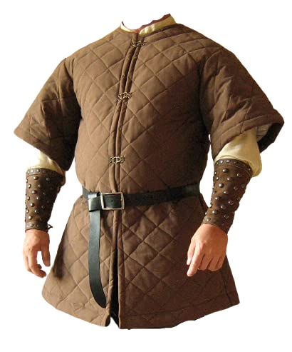 Padded Gambeson Celtic Viking Armor Padded Jacket Chainmail Guard Medieval Costume for Halloween (Small, Brown)