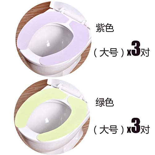 BAOZIV587 Toiletbril Kussen Plaktype Toilet Stick met Zomer Waterdichte Toiletbril Kussen Toilet Stick, Donkergroen Groen 3 Pairs + Paars 3 Pairs Groot