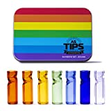 Air Steward Tips - Premium Quality Glass Cigarette Rolling Filter Tips - Rainbow Set - Pack of 7 (8x25mm-Round Mouth)