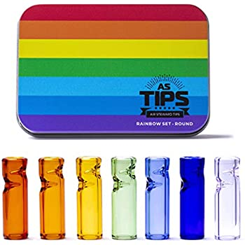 Rolling Tip Air Steward Tips - Premium Quality Glass Cigarette Rolling Filter Tips - Rainbow Set - Pack of 7 (8x25mm-Round Mouth)