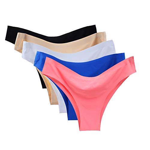 Vresqi Underwear Women Hipster Seamless Invisible Bikini Half Back Coverage Panties 5 Pack (XL/US L 8-10)