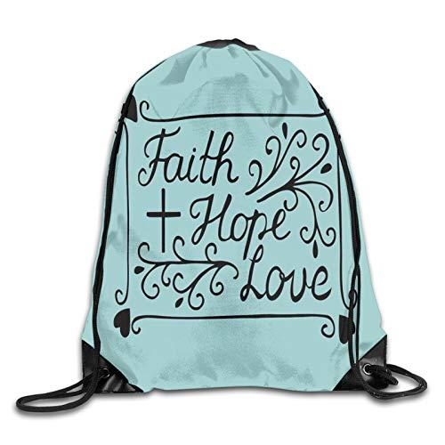 "Mochila con diseño de corazón arcaico con texto en inglés ""Faith Hope Love"" y texto en inglés ""Love"""