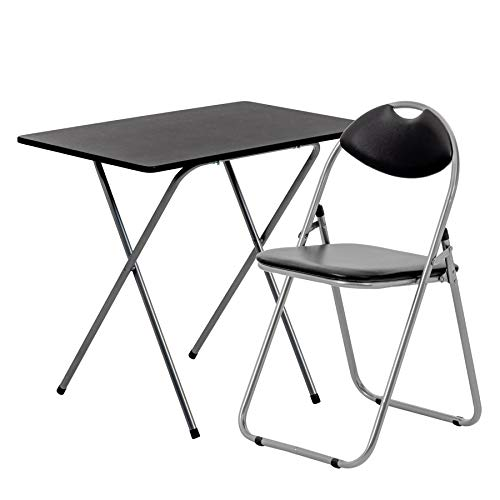 Harbour Housewares 2 Piece Folding Desk and Chair Set - Small Modern Home Office Workstation for PC Laptop Study - Wooden Top - White/Black