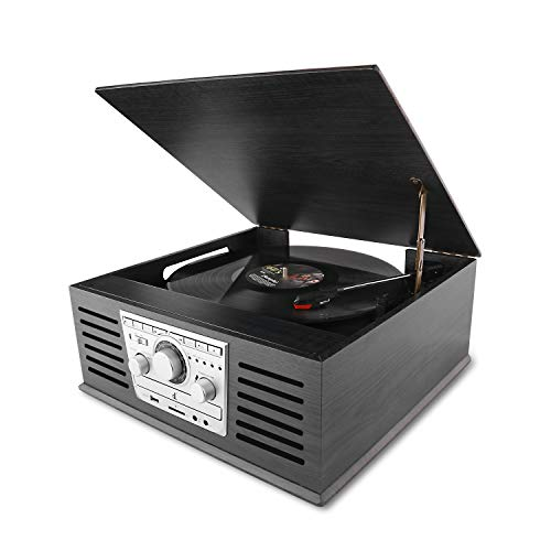 D&L Classic Record Player, Wood Bluetooth Phonograph with AM/FM, MP3 Recording to USB, CD Player, FM Radio,AUX Input for Smartphones and RCA Output, Turntable for Vinyl Records