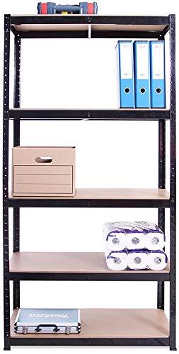 7Sevenjokers - Cobertizo para garaje de cinco niveles sin tornillos, 150 cm x 30 cm x 70 cm (negro), 1 juego de estantes de 5 niveles con todos los accesorios (175 kg por estante), capacidad de 875 kg