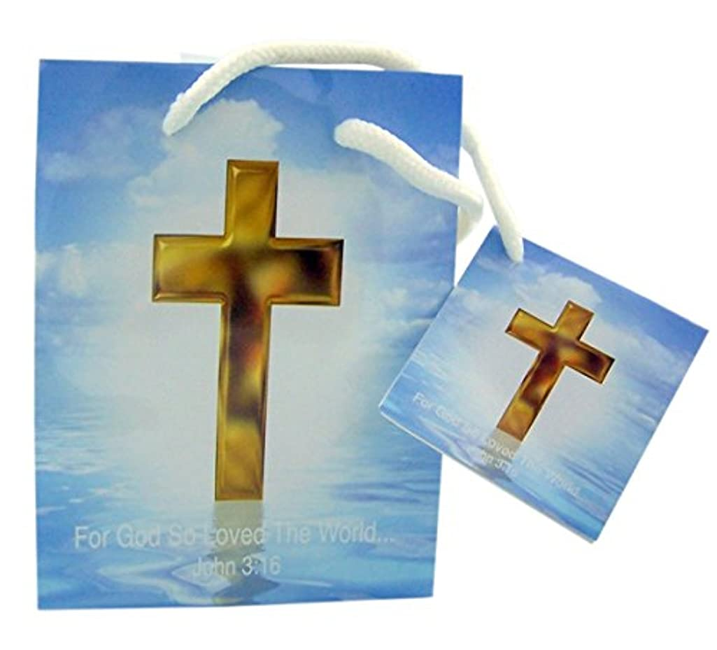 Religious Gift Bags Small Christian with Tissue Paper, Pack 12, 4 x 5 Inch