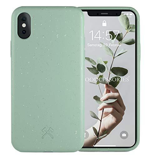Woodcessories - Antibakterielle Bio Hülle kompatibel mit iPhone XS Hülle Mint grün, iPhone X Hülle Mint grün - Plastikfrei, nachhaltig