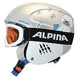 ALPINA Kinder Skihelm Carat mit Skibrille Ruby S SH Set Silber (232) XS