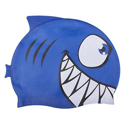 LAFEINA Swim Cap Waterproof Silicone Swim Cap Hats to Keep Hair Dry with Swimming Animal Critter Cap for Kids (Blue Shark)