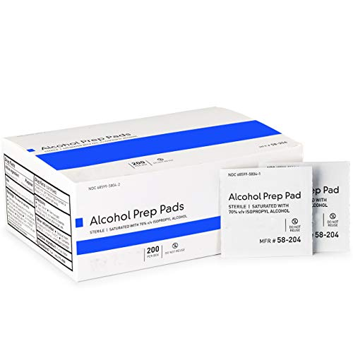 Alcohol Prep Pads, Large 2-Ply - 200 Alcohol Wipes, Individually Wrapped Swabs, Saturated with 70% v/v Isopropyl Alcohol (200)