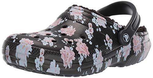 Crocs Classic Lined Clog, Floral/Black, 9 US Women / 7 US Men