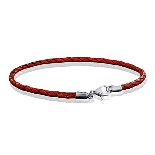 MATERIA 925 Silber Beads Armband Herren Damen - Leder Armband Karabiner rot 18-22cm #A57, Länge:21 cm