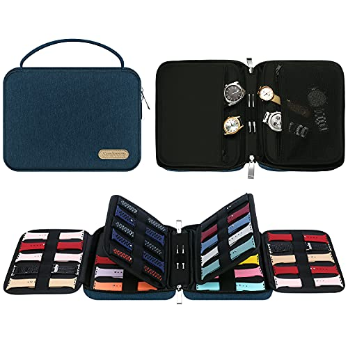 40 Watch Band Organizer Bag, Simboom Expandable Watch Band Storage Bag Carrying Case Spill-resistant Watch Straps Travel Case Carrying Bag for Watch Bands, Watch Band Pin, Cable, Earphones (Blue)