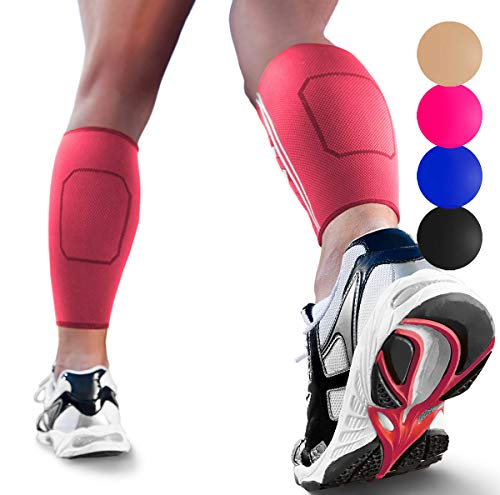 Calf Compression Sleeves by SPARTHOS (Pair) – Leg Compression Socks for Men and Women – Shin Splint Calf Pain Relief Air Travel Flight Nurses Maternity Basketball Football Soccer (Pink-M)