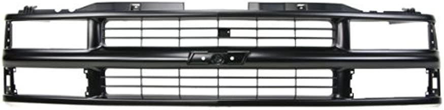 CarPartsDepot, Front Plastic Grill Grille Painted Flat Black Bar Frame w/Composite Headlamp Replacement, 400-15157 GM1200239 15981092