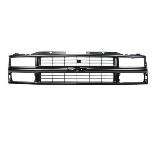 CarPartsDepot, Front Grille Grill Black Shell And Black Cross bar Insert Dual Headlamp Design Type Compatible With Chevrolet C/K Pickup Truck 1500 2500 3500 Suburban Tahoe Blazer 1994-2000