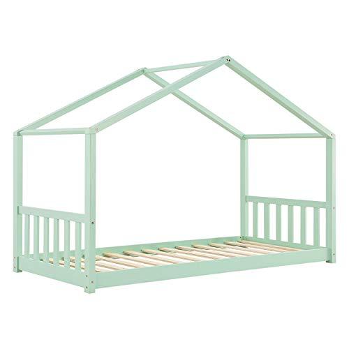 ArtLife Kinderbett Paulina 90 x 200 cm mit Lattenrost und Dach - Bett für Kinder aus massivem Holz - Hausbett in Mint-Grün