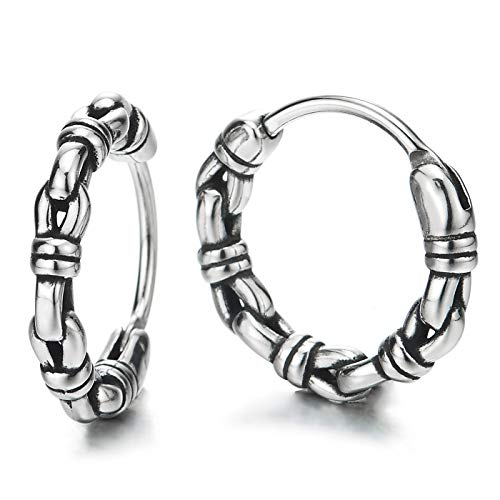 Paar Vintage Knoten Gliederkette Kreis Creolen für Herren Damen, Edelstahl Huggie Ohr Manschette Ohrringe, Fake Piercing