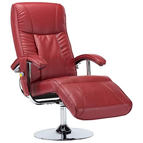 vidaXL Massagesessel mit Massage Heizung Elektrisch Relaxsessel Fernsehsessel TV Sessel Ruhesessel Liegesessel Relaxliege Weinrot Kunstleder