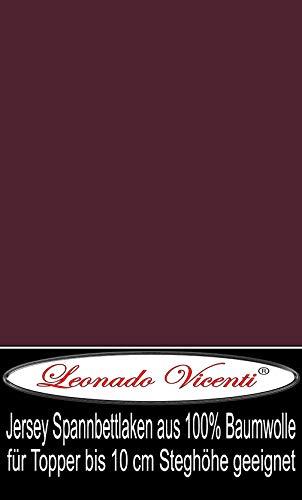 Leonado Vicenti - Jersey 100% Baumwolle Spannbettlaken Spannbetttuch extra geeignet für Topper mit 10cm Steghöhe (140 x 200 cm - 160 x 200 cm, Bordeaux)