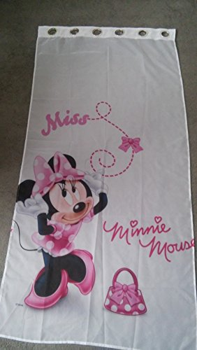 Minnie Mousse Pink Rings Voile Net Curtain 75 cm Width x 150 cm Drop