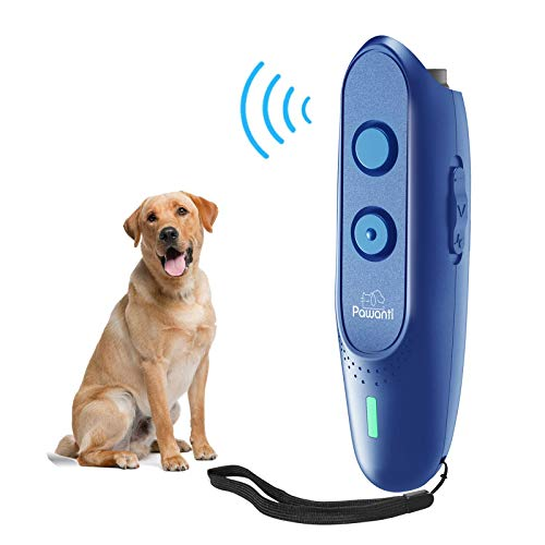 Pawanti Dog Bark Control Device, Ultrasonic Dog Bark Deterrent, 2 in 1 Anti Barking Dog Trainer, Rechargeable 16.5Ft Range Handheld Trainer for Dogs