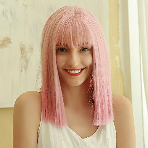 HAIRCUBE Pelucas de Bob corto y recto natural con flequillo de aire Peluca de mujer de color rosa con flequillo Ombre Peluca sintética de aspecto natural para vestido de fiesta