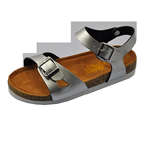 COQUI Zapatillas de Verano de Mujer,Sandalias de Cocina Sandalias Sandalias de una Sola Hebilla-Plata_39