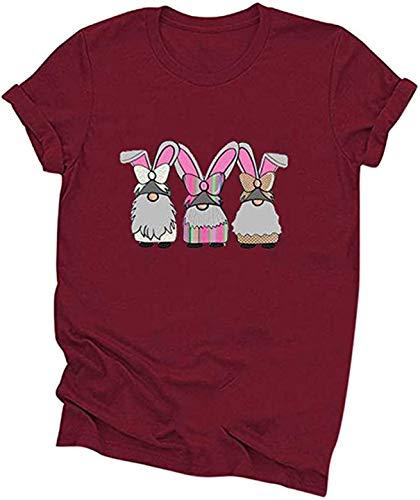 FCYOSO Happy Easter T-Shirt,Women's Short Sleeve Rubbit Egg Print Shirt G2-Red S