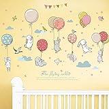 WandSticker4U®- Wandtattoo Babyzimmer HASE HASE FLIEG I