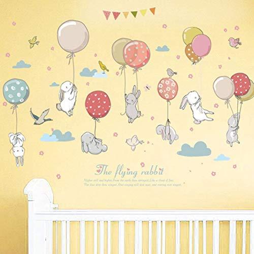 WandSticker4U®- Wandtattoo Babyzimmer HASE HASE FLIEG I Wandbilder: 105x72cm I Wandsticker Kaninchen Ballons Wolken Poster Wandaufkleber I Deko für Kinderzimmer Baby Kinder Mädchen Junge