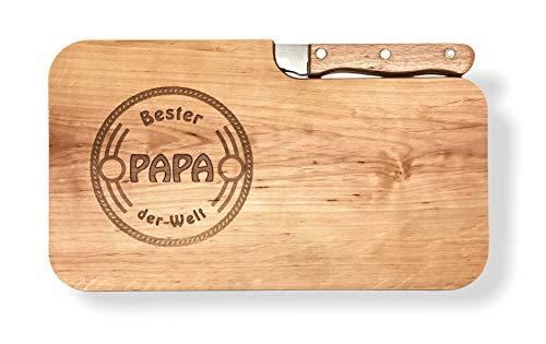 LASERHELD Brotzeitbrett Holz Erle Messer, Bester Papa der Welt, Geschenk Männer, Schneidbrett Holz, Geschenkidee für Papa