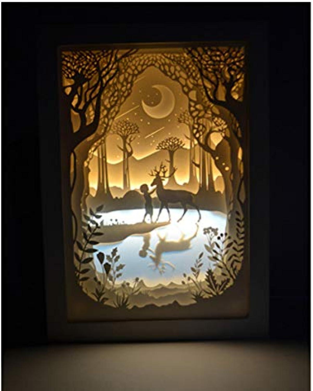 Knncch Lichtschattenpapier Des Valentinstags Helle Schnitzenlampe, Die Helles Hlzernes Helles Nachtlicht Der Nacht 3D Warmes Geburtstagsgeschenk Malt