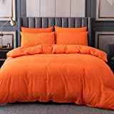Orange Duvet Cover Twin Size,100% Microfiber Solid Color 3 Pieces Comforter Cover Sets, Bedding Duvet Cover Soft and Breathable with Zipper Closure & Corner Ties, 68x90 inches