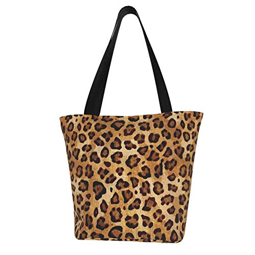 Rustic Texture Leopard Print Shoulder Tote Bagwomen'S Tote Bag Top Handle Handbags Animals Tote Washed Canvas Purses Bag