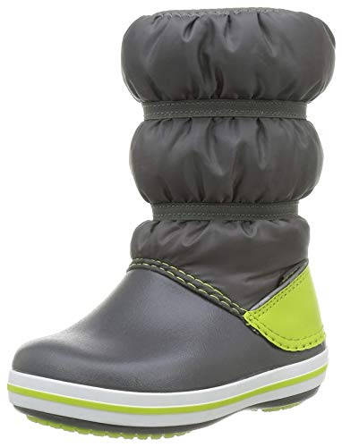 crocs Unisex-Kinder Crocband Winter Boot Kids Schneestiefel, Slate Grey/ Lime Punch, 29-30 EU