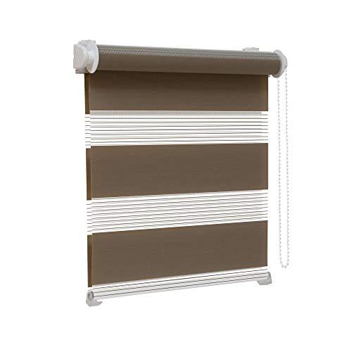 Victoria M. Zevra Estor Doble Enrollable - Estor día y Noche translúcido, 160 x 160 cm, marrón