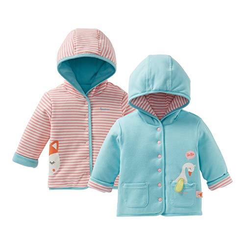 Bornino Veste réversible renard et oie veste bébé vêtements bébé, rose/naturel/bleu ciel