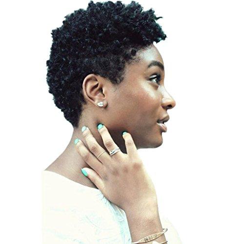 Gazechimp 8 Pouces Perruque Femme Africaine Américaine Noir Bouclée Courte en Vrais Cheveux Humains pour Fêtes et Cosplay
