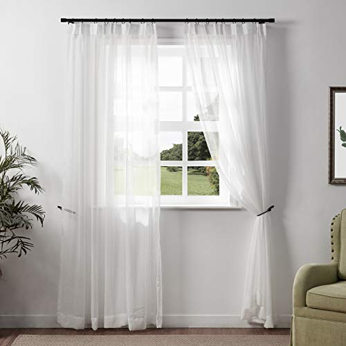 TWOPAGES White Sheer Curtains Window Treatment Pinch Pleated Voile Curtain Panels for Kitchen, Bedroom and Living Room (50 x 84 inches Long, 1 Panel)