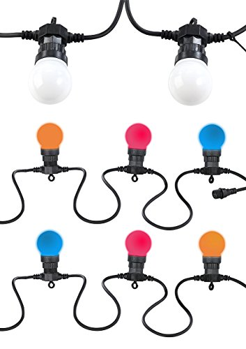 Lunartec Party Lichterkette außen: Party-Lichterkette, 20 bunten LEDs (Glühbirnenform), 8 Watt, 9 m, IP44 (LED Party Lichterkette außen)