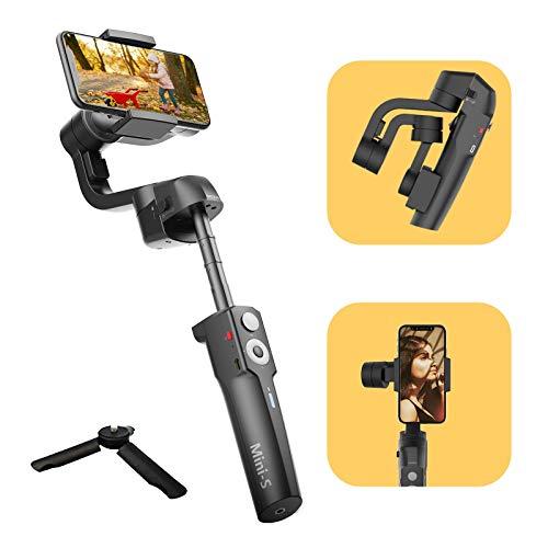 MOZA Mini-S con Poste de extensión estabilizador de cardán de 3 Ejes para teléfono Inteligente Vlog Youtuber Live Video Record Plegable Extensible