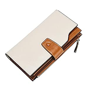 BOSTANTEN Womens Wallet Genuine Leather Wallets Large Capacity Cash Cluth Purses with Zipper Pocket 4