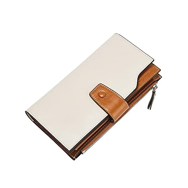 BOSTANTEN Womens Wallet Genuine Leather Wallets Large Capacity Cash Cluth Purses with Zipper Pocket 1